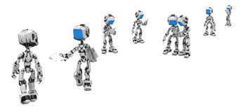 Blue Screen Robots, Handouts Royalty Free Stock Image