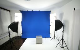 Blue screen studio. For photography with lights and background stock photos