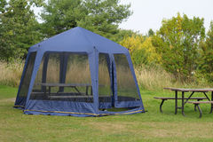 Blue screen tent Stock Image