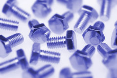 Blue screws Royalty Free Stock Images