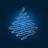 Blue scribble christmas tree Royalty Free Stock Image