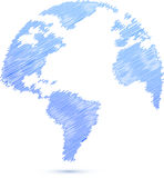 Blue Scribble world globe map illustration Royalty Free Stock Images