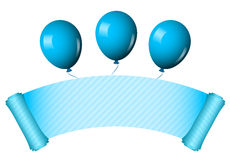 Blue scroll with balloons Stock Photo