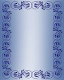 Blue Scroll Border Design Stock Image