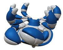 Blue Scutter Bot Upside Down, Dead Stock Images