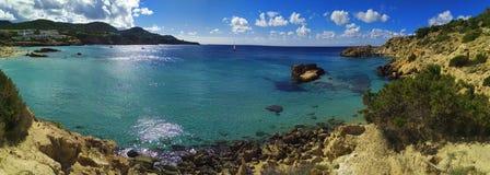 The blue sea of ibiza, pitiusa island stock photos