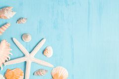 Blue sea background with copy space and seashell border, summer holiday and vacation concept.  stock photo