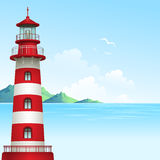Blue sea background with waves and lighthouse. Vector Illustration Stock Photo