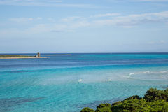Blue sea beach. Beuatiful beach La Pelosa in Sardegna stock images