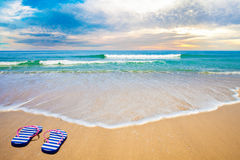 Blue sea beach in evening Royalty Free Stock Photos