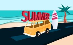 Blue sea and beach paper waves with SUMMER text on car. Paper cut style Stock Photography