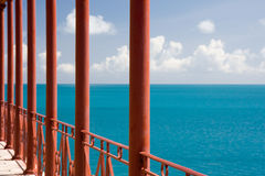 Blue sea in Bermuda. View from a house in Bermuda overlooking the sea royalty free stock photo