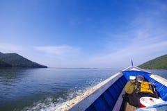 Blue sea boat sailing Royalty Free Stock Image