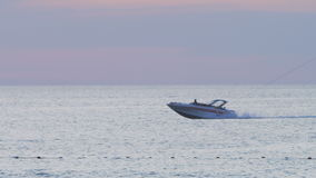 Blue sea and boat, slow motion. Blue sea and boat in Thailand stock video footage