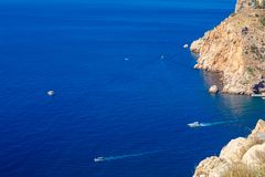 Blue sea with boats and cliffs view from the top, the concept of tourism and travel royalty free stock photos