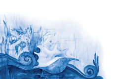 Blue sea-bottom. Fishes, seaweed and a bowl on a sea-bottom. Drawing a water color Stock Photo