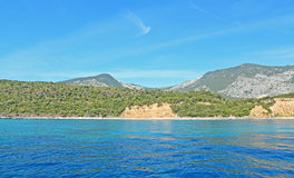 Blue sea in Cala Gonone. Cala Gonone shoreline on a clear day Royalty Free Stock Photos