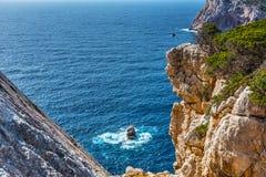 Blue sea in Capo Caccia Stock Photos