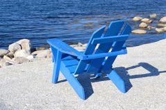 Blue Sea Chair Stock Image