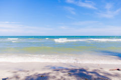 Blue sea with clear sky | Beautiful natural landscape background | Ocean and beach in Thailand Stock Photos