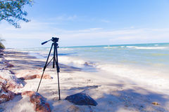 Blue sea with clear sky | Beautiful natural landscape background | Ocean and beach in Thailand Royalty Free Stock Image