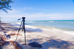 Blue sea with clear sky | Beautiful natural landscape background | Ocean and beach in Thailand Stock Photography