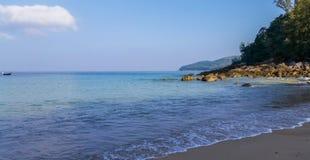Blue sea and clear sky Stock Photos