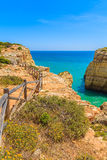 Blue sea and cliff path Stock Photo