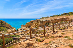 Blue sea and cliff path Royalty Free Stock Photography