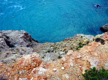 Blue sea and cliffs. Seen from above Royalty Free Stock Images
