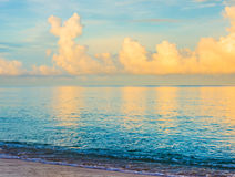 blue sea and cloudy blue sky over it. Royalty Free Stock Images