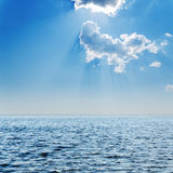 Blue sea and cloudy sky Royalty Free Stock Photo