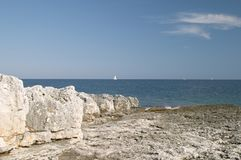 Blue sea coast. In the protected natural marine area of Premantura peninsula near Pula (Pola), Istra, Croatia royalty free stock images