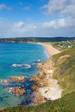Blue sea and coast of Cornwall Englandat Praa Sands Stock Photography