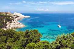 Blue sea and coast view in Sardinia royalty free stock photo
