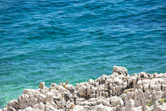 The blue sea and coastal rocks. Royalty Free Stock Photos