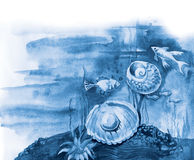 Blue sea cockleshell with a pearl. Fishes, seaweed and cockleshell on a sea-bottom. Drawing a water color Royalty Free Stock Image