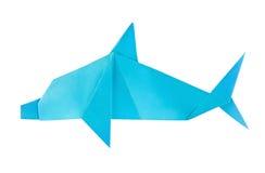 Blue sea dolphin of origami Stock Photos
