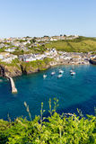 Blue sea English harbour Port Isaac Cornwall Royalty Free Stock Image