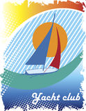 Blue sea eye.Abstract sea motive.Yacht club poster Royalty Free Stock Images