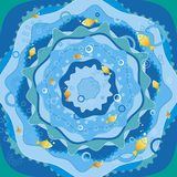Blue sea with fish,vector. Blue sea with golden fish,vector illustration Royalty Free Stock Images