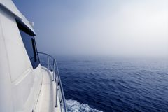 Blue sea in a foggy day low visibility Royalty Free Stock Photos