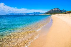 Blue sea and gold beach background with copy space, Italy, Sardinia summer travel. Stock Images