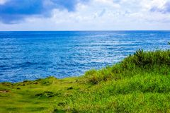 Blue sea and green coast Stock Image