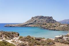 The blue sea at Haraki, Rhodes Royalty Free Stock Photos