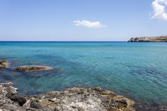 The blue sea at Haraki, Rhodes Royalty Free Stock Images