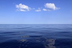 Blue sea horizon ocean perfect in calm. Sunny day mediterranean Royalty Free Stock Image