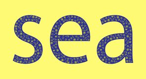 Blue sea inscription on a yellow background with shells vector illustration