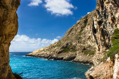 Blue sea of the island of Gozo in Malta Royalty Free Stock Photography