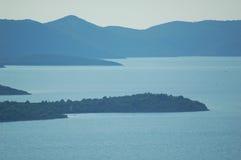 Blue sea islands. Croatian islands Iz and Dugi otok in the Adriatic sea Royalty Free Stock Images